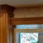 Completed wooden valance over the kitchen window
