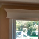 Completed wooden valance in living room