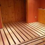 Installation of radient floor heating for a customer's home in the basement. Toasty!