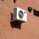 Example of ductless split condensing unit mounted on outside wall at Arbor Rose, New Britain