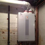 On-demand water heater intalled in residential home, East Hartford